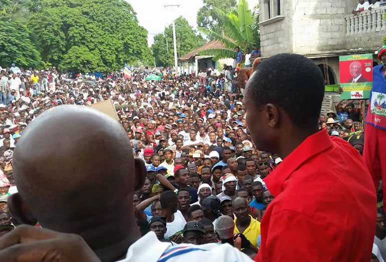 Jean-Charles Moise campaigns in Saint Michel de l'Attalaye