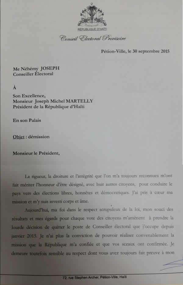 Nehemy Joseph resignation Letter