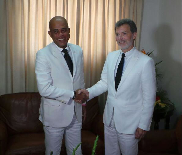 Michel Martelly with New US Ambassador to Haiti, Peter Mulrean
