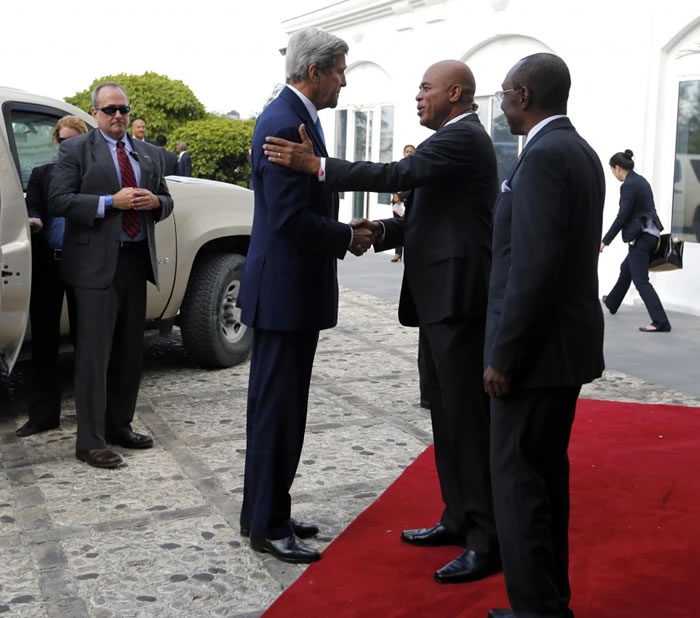 U.S. Secretary of State John Kerry and Michel Martelly in Haiti