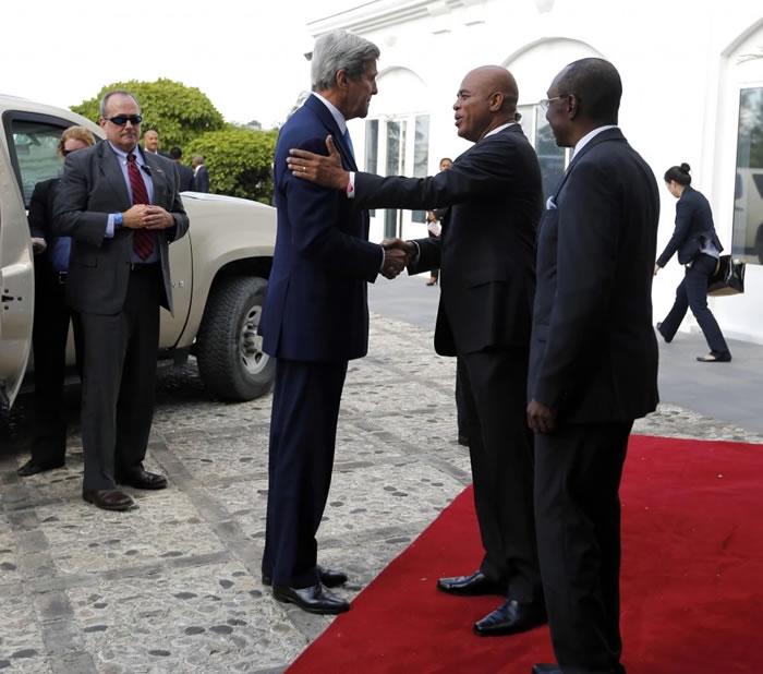 U.S. Secretary of State John Kerry and Michel Martelly in Haiti
