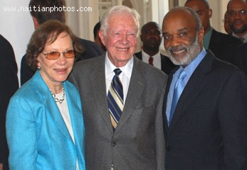 Haitian President Rene Preval Jimmy Carter And Rosalynn Carter