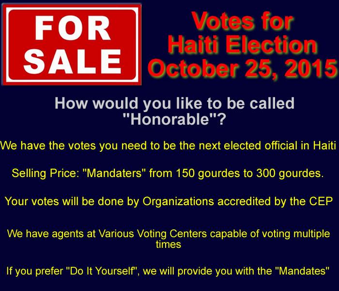 Mandates for sale in Haiti Election