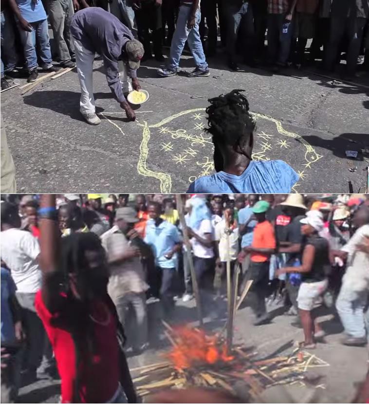 Haiti Protests Start With Damballah Wedo Voodoo Symbol Campfire