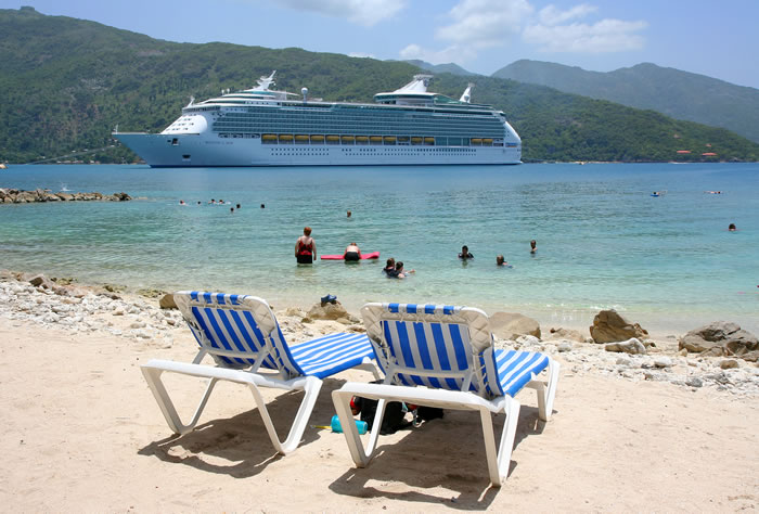 Royal Caribbean ship in Labadee, Haiti