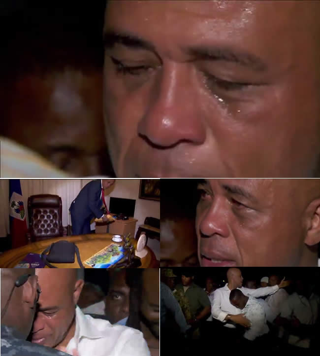 Michel Martelly cries as he spends Final moments in Office