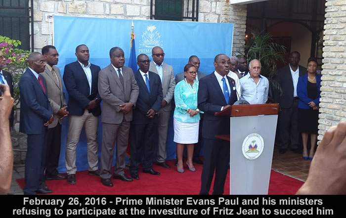 Evans Paul refusing to participate at Fritz Jean' investiture