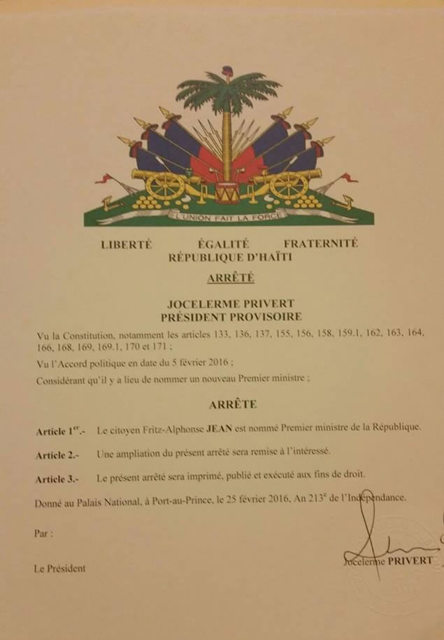Decree appointing Fritz Alphonse Jean as Prime Minister
