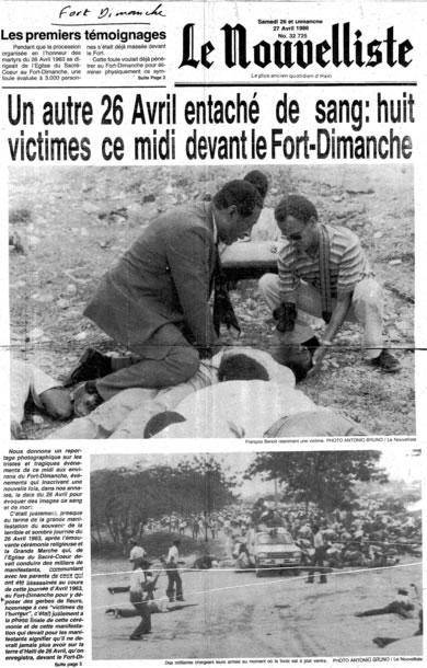 Massacre of April 26, 1986 by Francois Duvalier