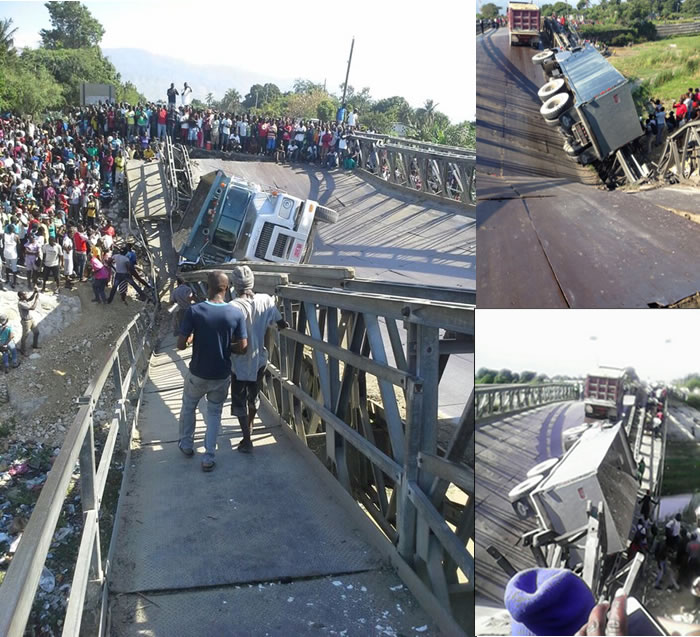 collapsed of Cite Soleil bridge along Route 9 in Haiti