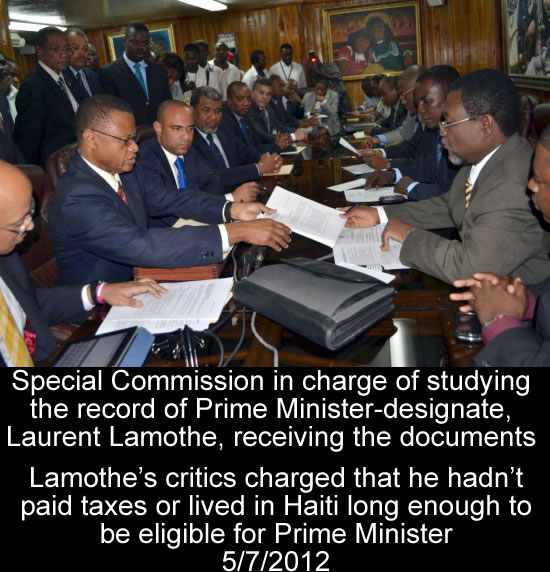 Laurent Lamothe submitted documents to the Senate for ratification
