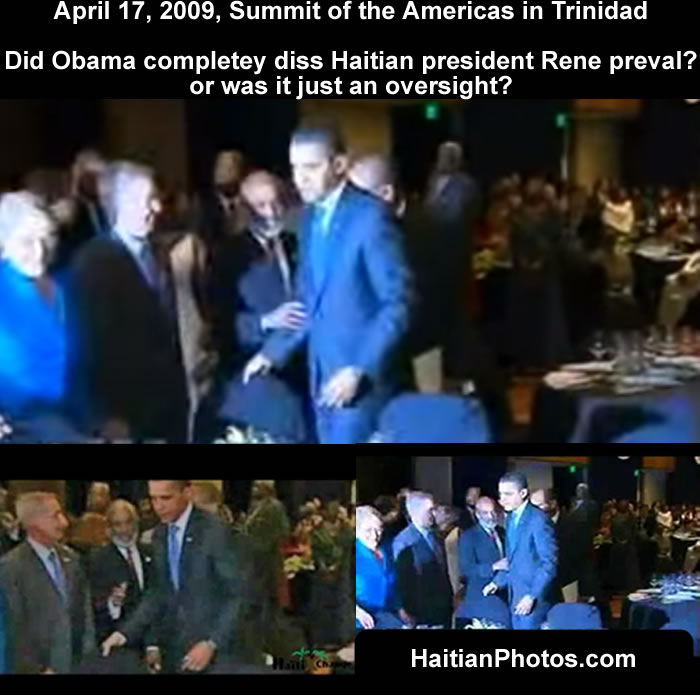 Did Obama completey diss Haitian president Rene preval