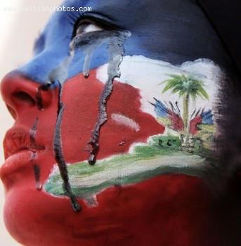 Haitian Flag Painted In Face