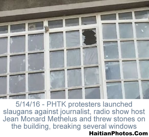 PHTK gets violent by throwing stones at Radio Caraibes building