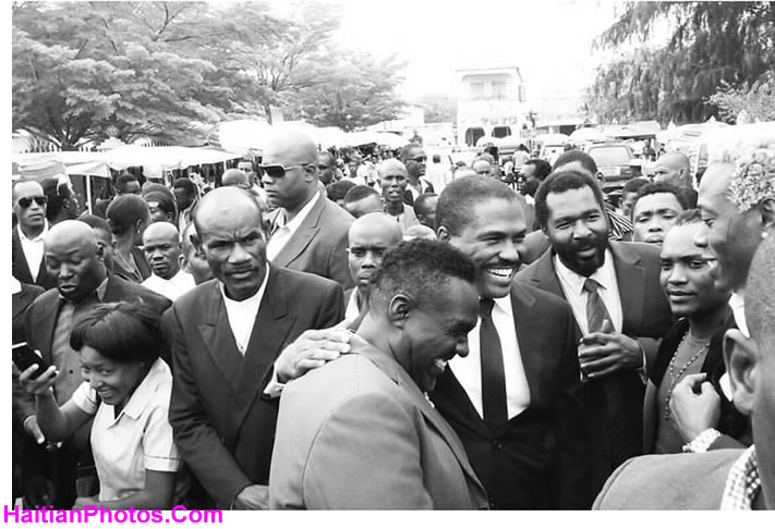 Jude Celestin at the Funeral of Gazzman Couleur's mother