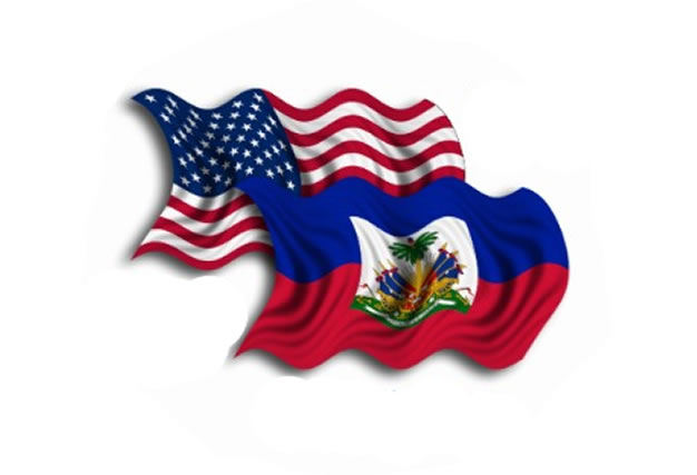 The flags of Haiti and the United States of America