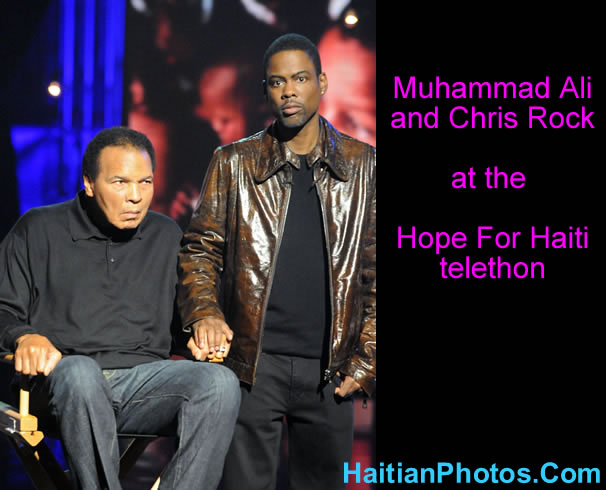 Muhammad Ali and Chris Rock at Hope For Haiti telethon