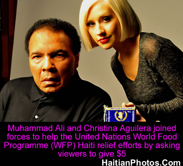 Muhammad Ali and Christina Aguilera, Haiti relief effort