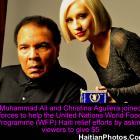 Muhammad Ali and Christina Aguilera, Haiti relief effort