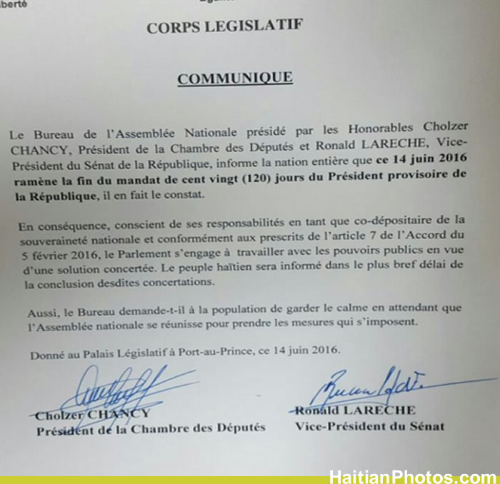 According to Haitian Parliament, Privert is no longer President