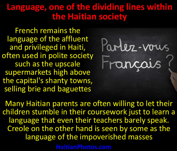 Language, one of the dividing lines within the Haitian society