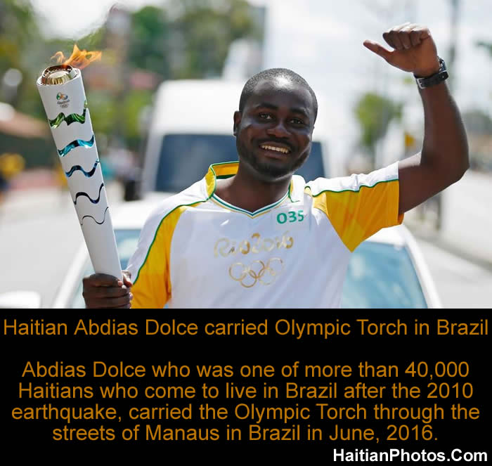 Haitian Abdias Dolce carried Olympic Torch in Brazil carries
