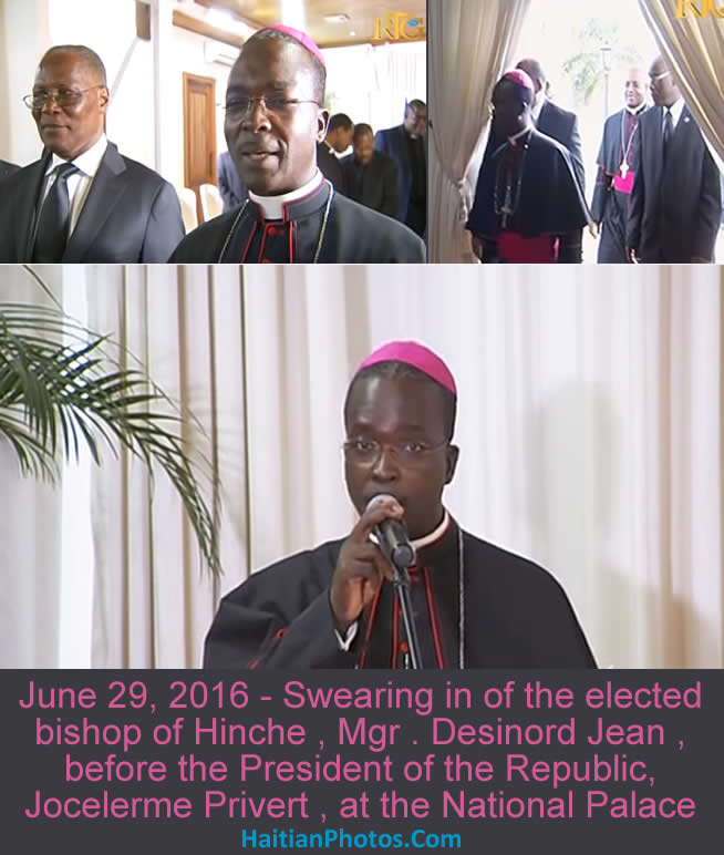 Swearing in of bishop of Hinche , Mgr . Desinord Jean