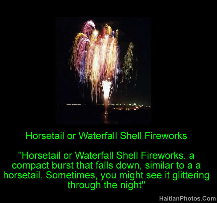 Horsetail or Waterfall Shell Fireworks