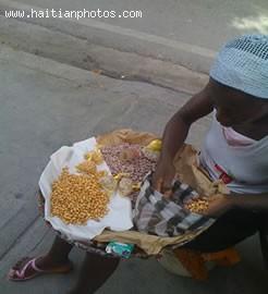 Street Vandor Selling Grilled Peanut - Haitian Food