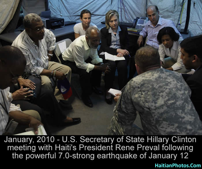Hillary Clinton with Haiti's President Rene Preval