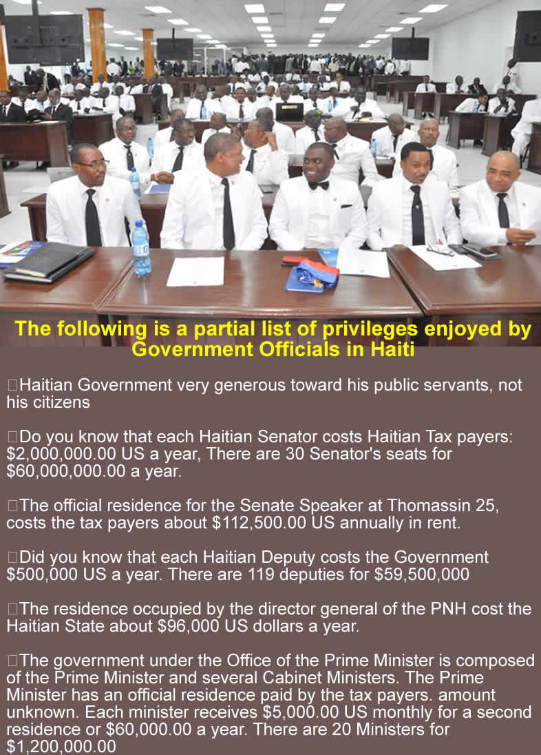 Partial list of privileges enjoyed by Government officials in Haiti