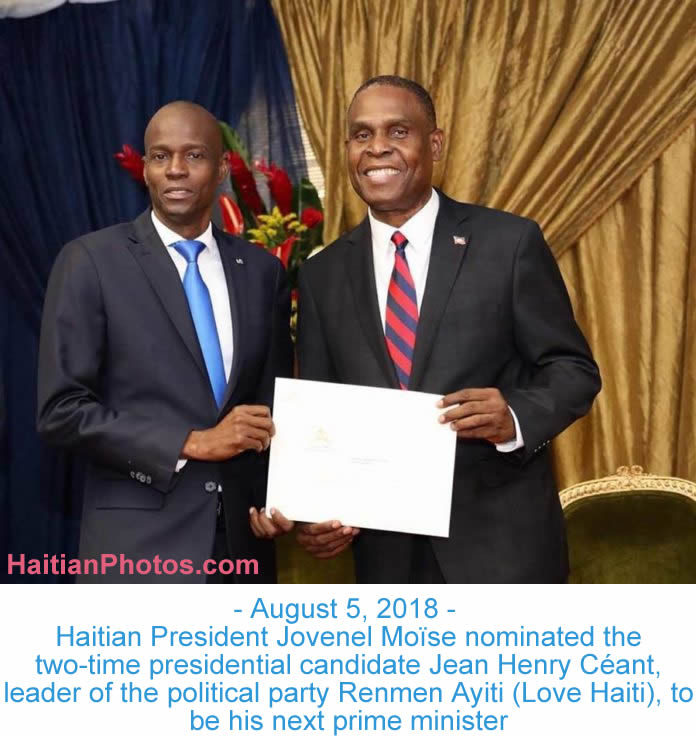Jovenel Moïse nominated Jean Henry Céant as prime minister of Haiti