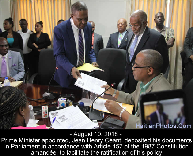 Jean Henry Céant deposited documents in Parliament for ratification