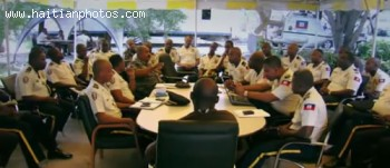 Haiti Police Chief Mario Andre Sol With Senior Officials Of Haitian Police