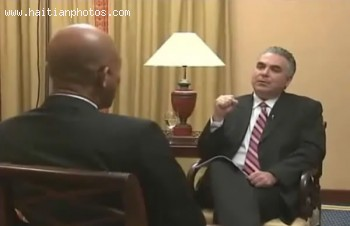 Michel Martelly Giving An Interview In Dominican Republic
