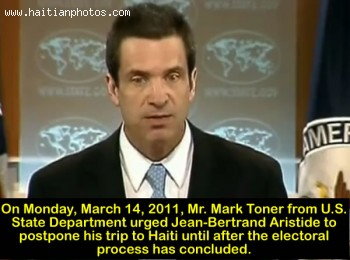 Mark Toner Of The US State Department Statement On Jean-Bertrand Aristide To Haiti