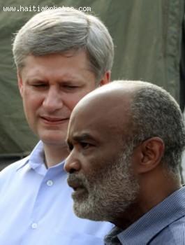 Canada Prime Minister Stephen Harper And Haitian President Rene Preval