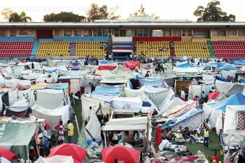 Stadium Sylvio Cator transformed into Tent city after 2010 Haiti earthquake